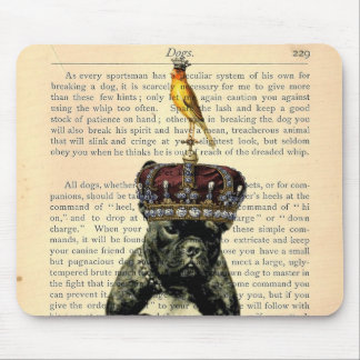 Vintage Book Page Bulldog King Mousepad
