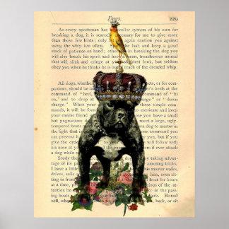 Vintage Book Page Bulldog King Poster