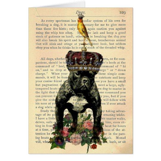 Vintage Book Page French Bulldog King Notecard