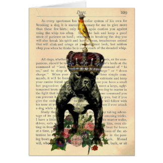 Vintage Book Page French Bulldog King Notecard Stationery Note Card