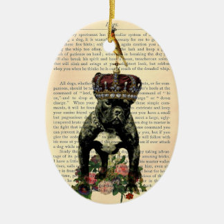 Vintage Book Page French Bulldog King Ornament