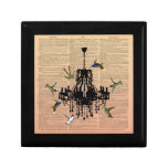 Vintage Book Page Hummingbird Chandelier Gift Box