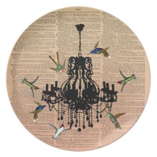 Vintage Book Page Hummingbird Chandelier Plate