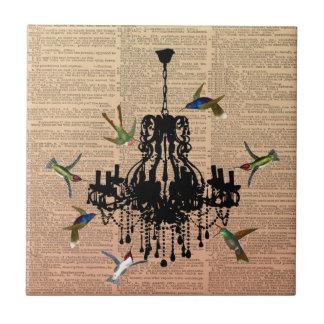 Vintage Book Page Hummingbird Chandelier Tile
