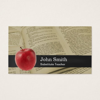 Vintage Book Pages & Big Apple School Teacher Business Card