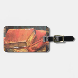 Vintage Book painting on a Luggage Tag