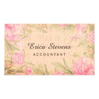 Vintage Bookkeeping Ledger Pink Floral Accountant Business Card