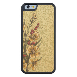 Vintage Bookpaper With Autumn Flowers Carved Maple iPhone 6 Bumper Case