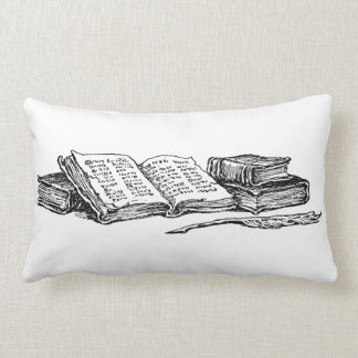 Vintage Books and Writing Quill Reading Pillow
