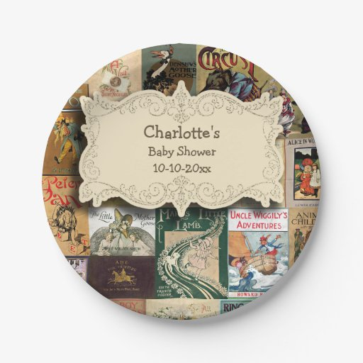 Baby Shower Plate: Vintage Books Baby Shower Paper Plate