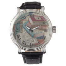 Vintage Books Background Wrist Watch
