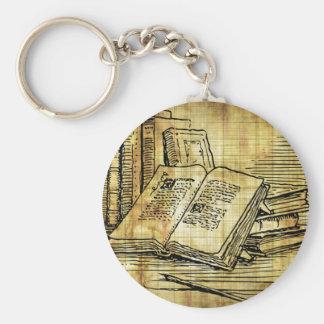 Vintage Books Basic Round Button Keychain