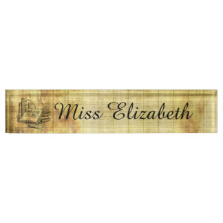 Vintage Books Desk Name Plate