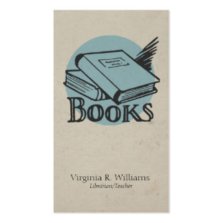 Vintage Books Illustration Blue Retro Circle Business Card
