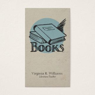 Vintage Books Illustration Blue Retro Circle Business Card