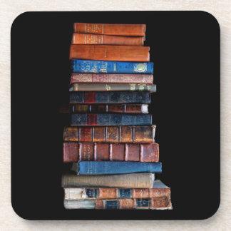 Vintage Books in a Pile Beverage Coaster