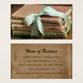 Vintage Books With Mint Ribbon Freelance Writer Business Card