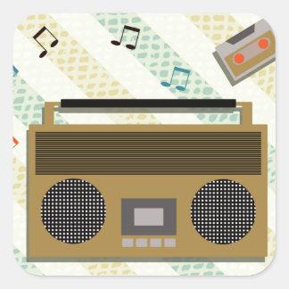 vintage boombox radio square sticker