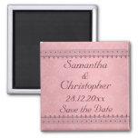 Vintage Bordeaux Deco Lace on Pink Save the Date Fridge Magnets