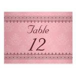 Vintage Bordeaux Deco Lace on Pink Table Card Postcards
