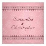 Vintage Bordeaux Deco Lace on Pink Wedding Personalized Invite