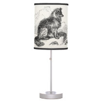 Vintage Border Collie Dog Personalized Retro Dogs Table Lamp