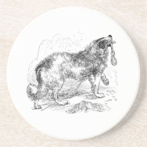 Vintage Border Collie Dog Template Sandstone Coaster