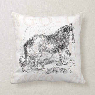 Vintage Border Collie Dog Template Throw Pillow