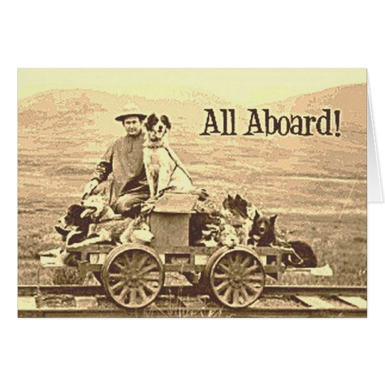 Vintage Border Collie Notecard~Trains~All Aboard~ Card