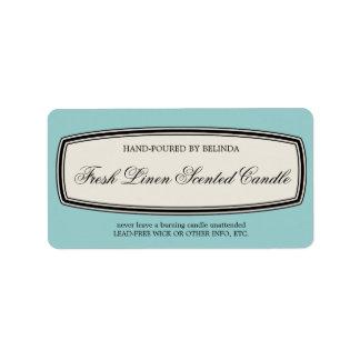 Vintage Border Handmade Candle Label, Pale Blue Label