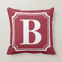 Vintage Border | Red Personalized Monogram Pillow