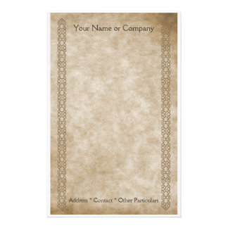 Vintage Borders Tan Customized Stationery