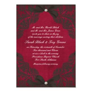 """Vintage Borgoña y cordón negro Invitación 5"""" X 7"""""""
