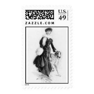 Vintage Borzoi Art Postage Stamps