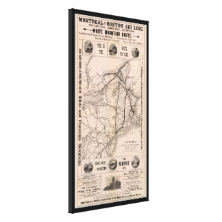Vintage Boston and Montreal Railroad Map (1887) Stretched Canvas Print