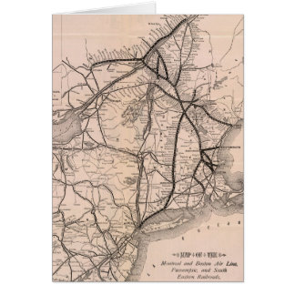 Vintage Boston and Montreal Railroad Map (1887) Card
