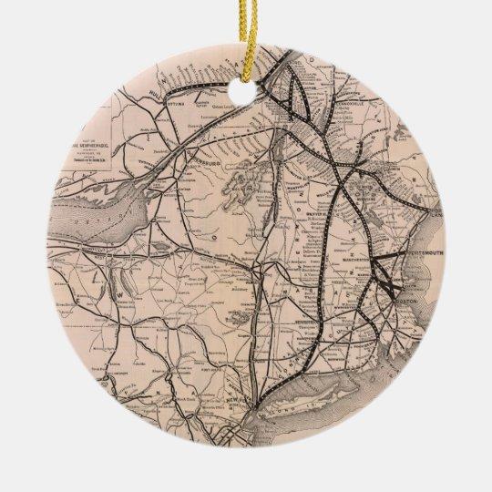 Vintage Boston and Montreal Railroad Map (1887) Ceramic Ornament