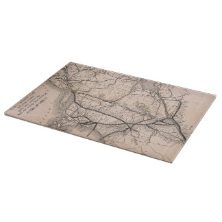 Vintage Boston and Montreal Railroad Map (1887) Cutting Board
