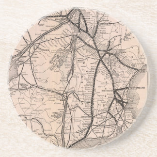 Vintage Boston and Montreal Railroad Map (1887) Drink Coaster
