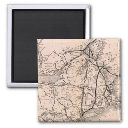 Vintage Boston and Montreal Railroad Map (1887) 2 Inch Square Magnet