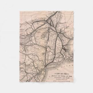 Vintage Boston and Montreal Railroad Map (1887) Fleece Blanket