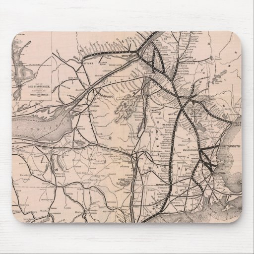 Vintage Boston and Montreal Railroad Map (1887) Mouse Pad