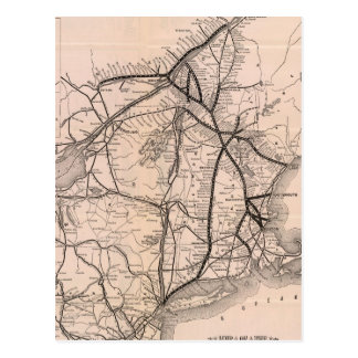 Vintage Boston and Montreal Railroad Map (1887) Postcard