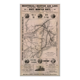 Vintage Boston and Montreal Railroad Map (1887) Poster