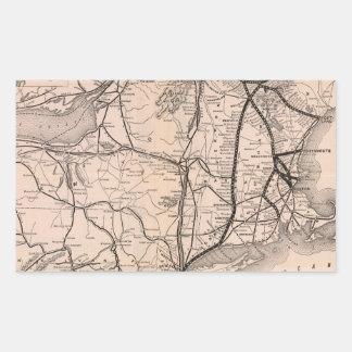 Vintage Boston and Montreal Railroad Map (1887) Rectangular Sticker