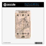 Vintage Boston and Montreal Railroad Map (1887) Decals For iPod Touch 4G