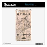 Vintage Boston and Montreal Railroad Map (1887) iPhone 4S Skins