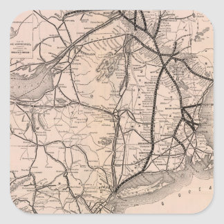 Vintage Boston and Montreal Railroad Map (1887) Square Stickers
