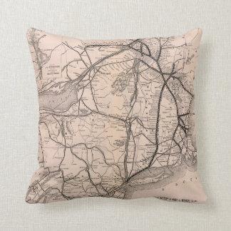Vintage Boston and Montreal Railroad Map (1887) Throw Pillow