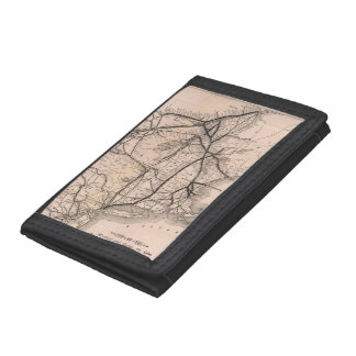 Vintage Boston and Montreal Railroad Map (1887) Tri-fold Wallets
